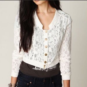 [Free People] white lace jacket